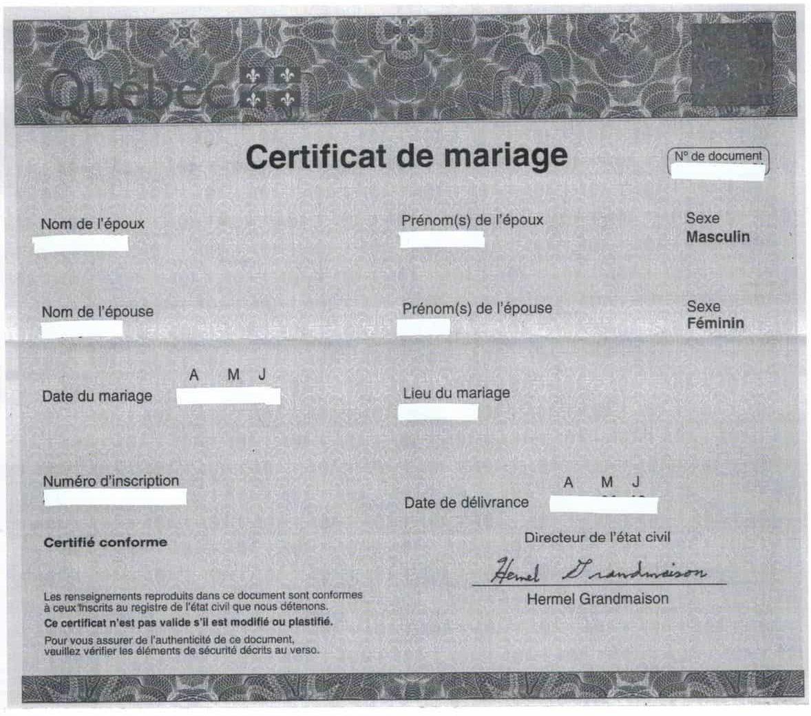 certificat de mariage ou acte de mariage au quebec