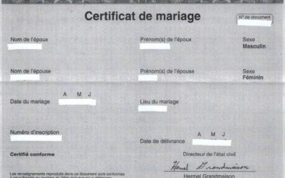 L'obtention d'un certificat de mariage ou acte de mariage au Québec